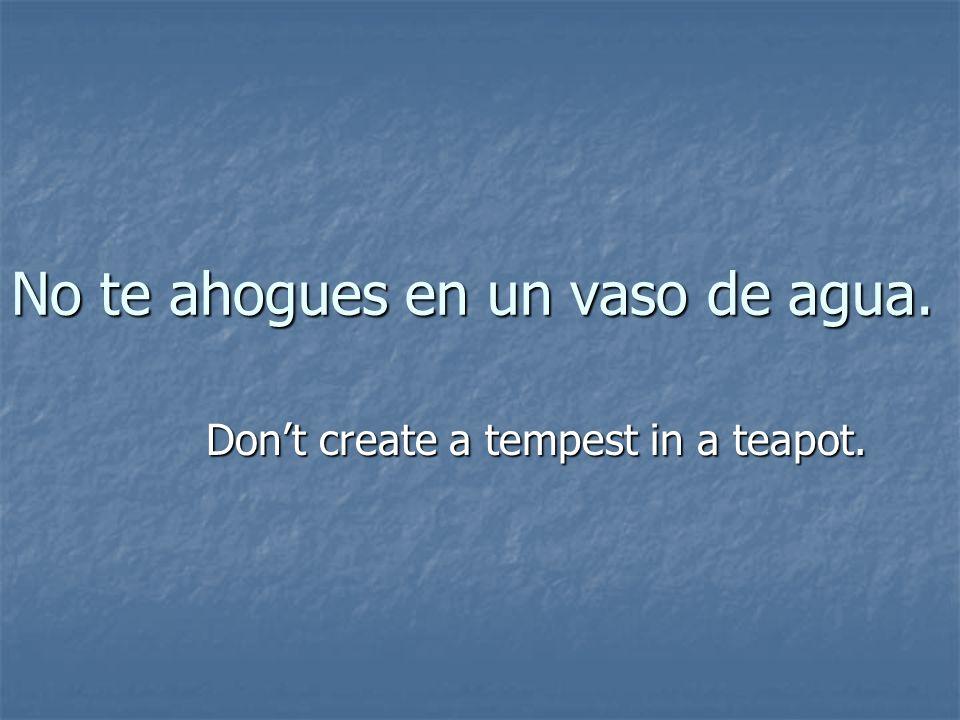 No te ahogues en un vaso de agua. Dont create a tempest in a teapot.