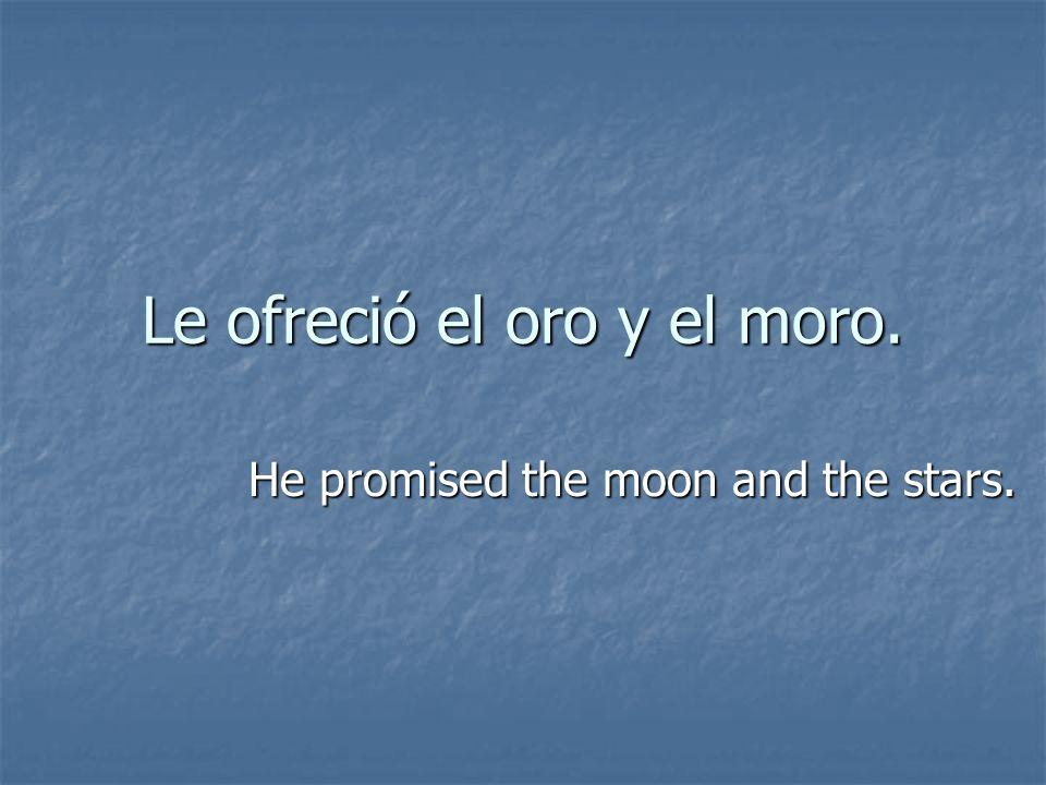 Le ofreció el oro y el moro. He promised the moon and the stars.