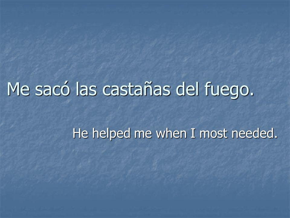 Me sacó las castañas del fuego. He helped me when I most needed.