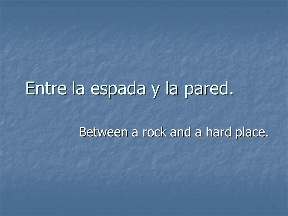 Entre la espada y la pared. Between a rock and a hard place.