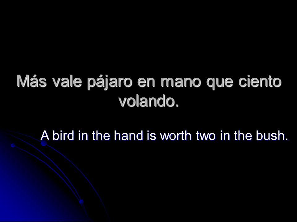 Más vale pájaro en mano que ciento volando. A bird in the hand is worth two in the bush.