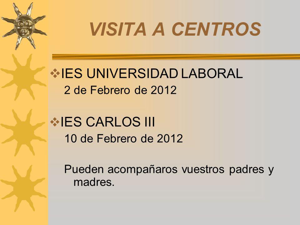 VISITA A CENTROS IES UNIVERSIDAD LABORAL 2 de Febrero de 2012 IES CARLOS III 10 de Febrero de 2012 Pueden acompañaros vuestros padres y madres.