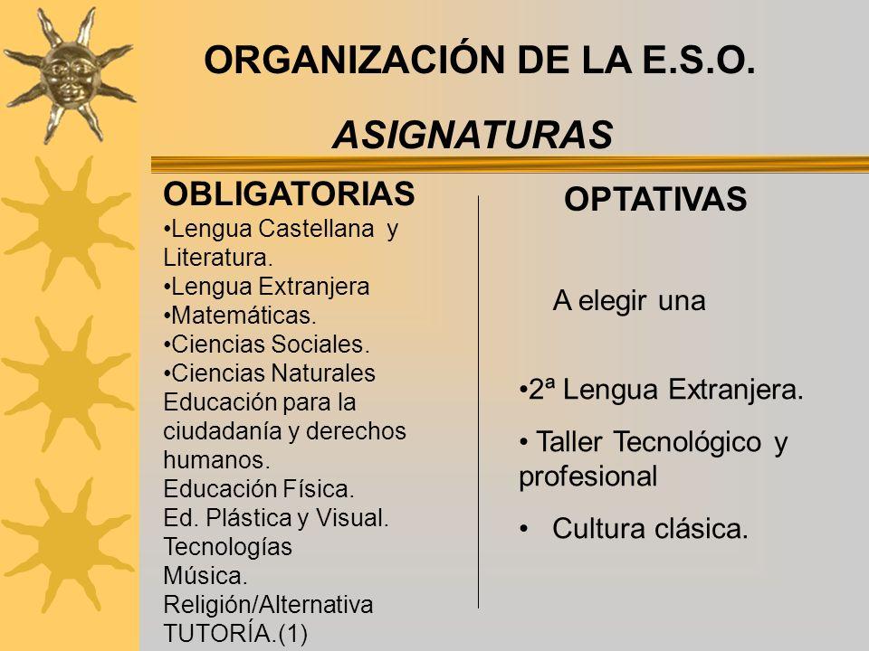 ORGANIZACIÓN DE LA E.S.O. OBLIGATORIAS OPTATIVAS Lengua Castellana y Literatura.