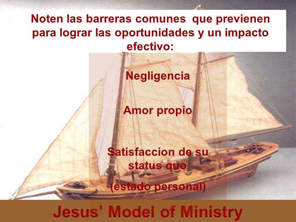 Jesus Model of Ministry Noten las barreras comunes que previenen para lograr las oportunidades y un impacto efectivo: Negligencia Amor propio Satisfac
