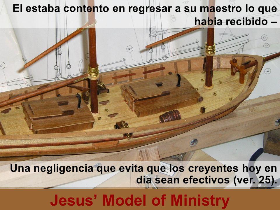 Jesus Model of Ministry El estaba contento en regresar a su maestro lo que habia recibido – Una negligencia que evita que los creyentes hoy en dia sea