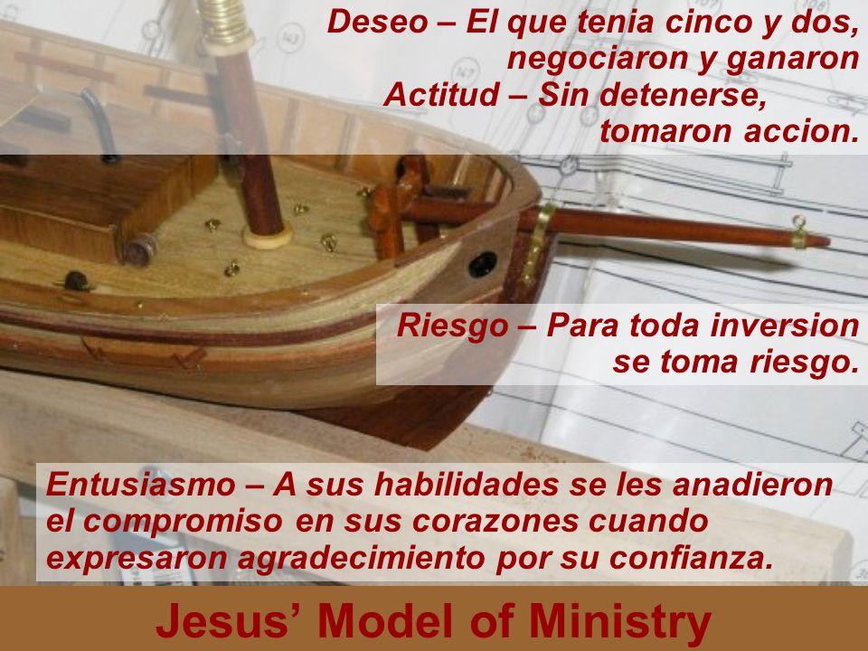 Jesus Model of Ministry Deseo – El que tenia cinco y dos, negociaron y ganaron Actitud – Sin detenerse, tomaron accion. Riesgo – Para toda inversion s