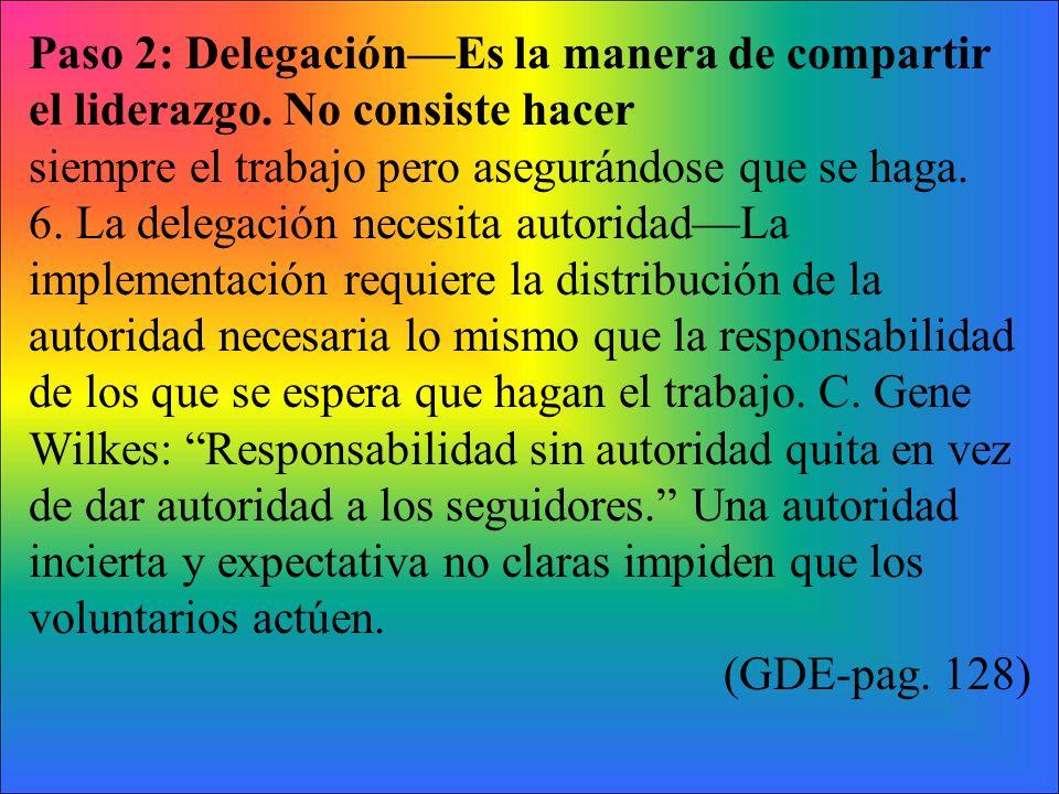 Paso 2: DelegaciónEs la manera de compartir el liderazgo. No consiste hacer siempre el trabajo pero asegurándose que se haga. 6. La delegación necesit