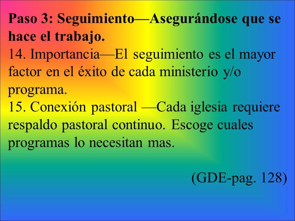 Paso 3: SeguimientoAsegurándose que se hace el trabajo. 14. ImportanciaEl seguimiento es el mayor factor en el éxito de cada ministerio y/o programa.