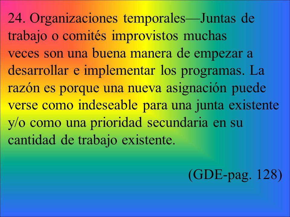 24. Organizaciones temporalesJuntas de trabajo o comités improvistos muchas veces son una buena manera de empezar a desarrollar e implementar los prog
