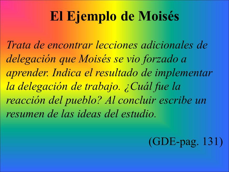 El Ejemplo de Moisés Trata de encontrar lecciones adicionales de delegación que Moisés se vio forzado a aprender. Indica el resultado de implementar l