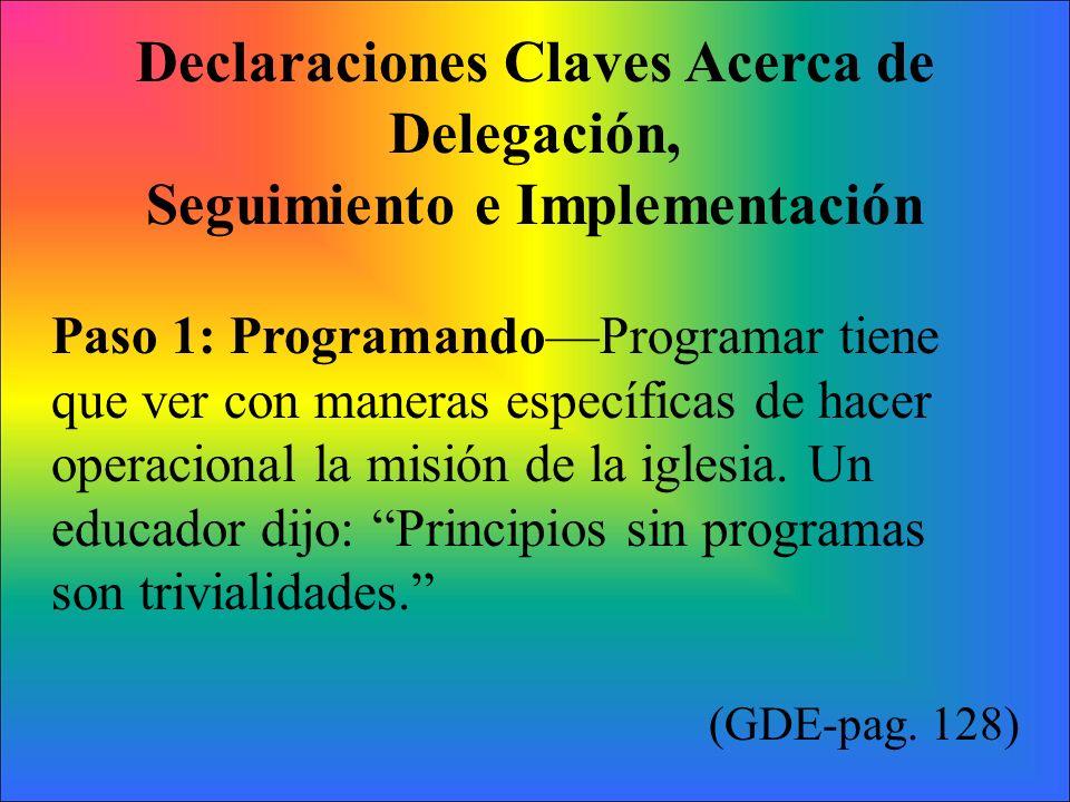 Declaraciones Claves Acerca de Delegación, Seguimiento e Implementación Paso 1: ProgramandoProgramar tiene que ver con maneras específicas de hacer op