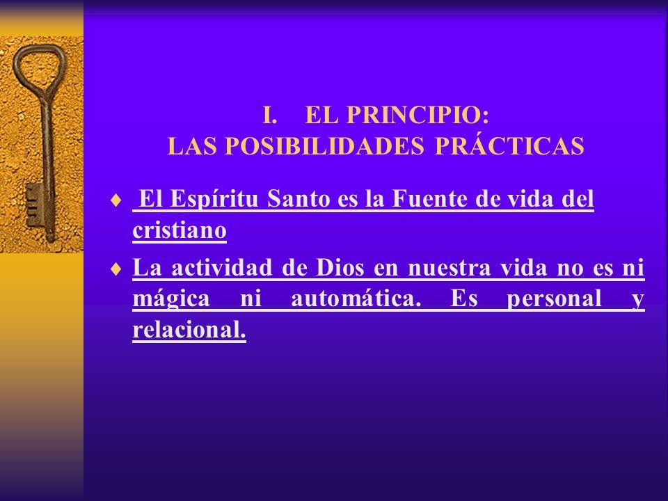 I. EL PRINCIPIO: LAS POSIBILIDADES PRÁCTICAS El Espíritu Santo es la Fuente de vida del cristiano La actividad de Dios en nuestra vida no es ni mágica