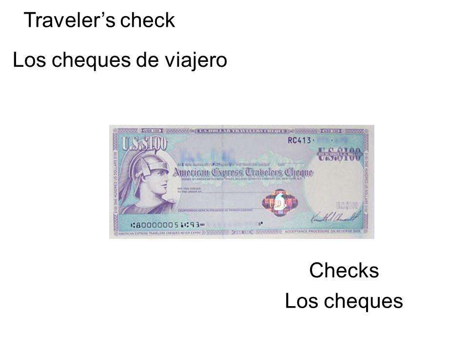 Travelers check Los cheques de viajero Checks Los cheques