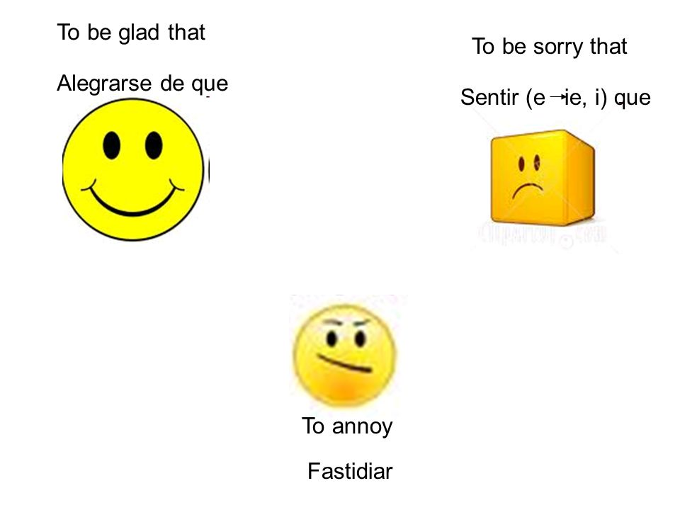 To be glad that Alegrarse de que To annoy Fastidiar To be sorry that Sentir (e ie, i) que