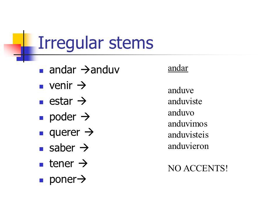 More irregular stems traer* decir* conducir* producir* traducir* decir dije dijiste dijo dijimos dijisteis dijeron* -eron in ellos/Uds.