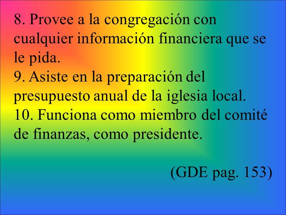 8. Provee a la congregación con cualquier información financiera que se le pida. 9. Asiste en la preparación del presupuesto anual de la iglesia local