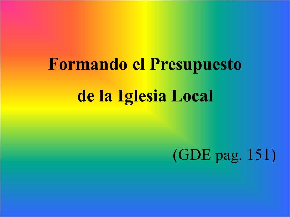 Formando el Presupuesto de la Iglesia Local (GDE pag. 151)