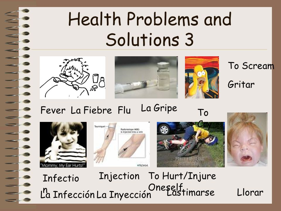 Health Problems and Solutions 3 FeverLa FiebreFlu La Gripe To Scream Gritar Infectio n La Infección Injection La Inyección To Hurt/Injure Oneself Lastimarse To Cry Llorar