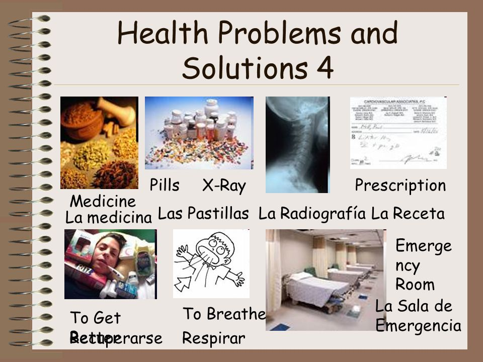 Health Problems and Solutions 4 Medicine La medicina Medicina Pills Las Pastillas X-Ray La Radiografía Prescription La Receta To Get Better Recuperarse To Breathe Respirar Emerge ncy Room La Sala de Emergencia