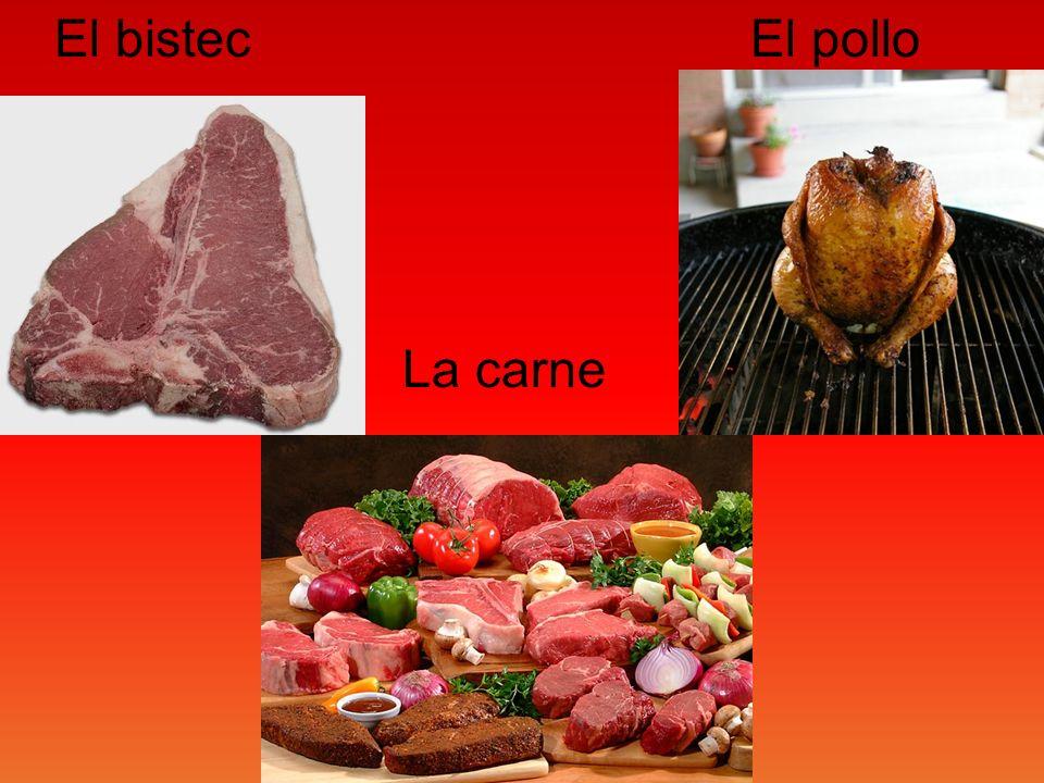 El bistec La carne El pollo