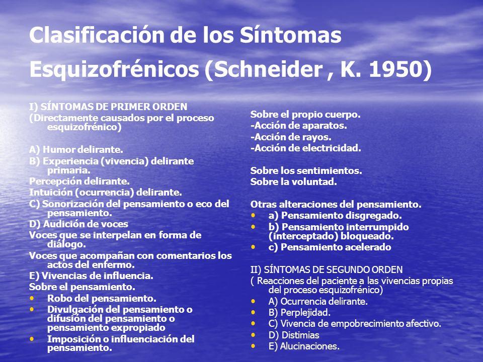 Clasificación de los Síntomas Esquizofrénicos (Schneider, K. 1950) I) SÍNTOMAS DE PRIMER ORDEN (Directamente causados por el proceso esquizofrénico) A