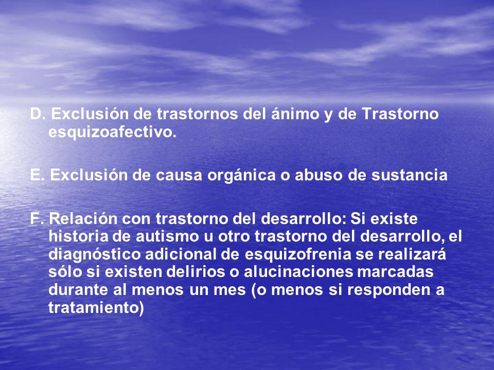 D. Exclusión de trastornos del ánimo y de Trastorno esquizoafectivo. E. Exclusión de causa orgánica o abuso de sustancia F. Relación con trastorno del