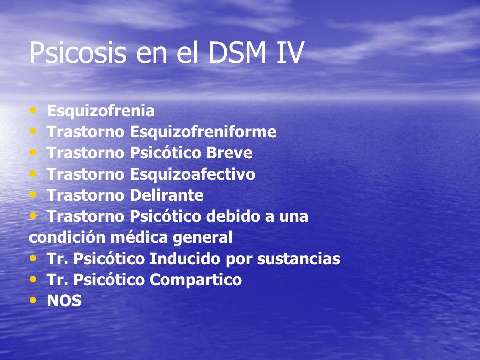 Psicosis en el DSM IV Esquizofrenia Trastorno Esquizofreniforme Trastorno Psicótico Breve Trastorno Esquizoafectivo Trastorno Delirante Trastorno Psic