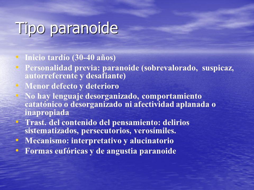 Tipo paranoide Inicio tardío (30-40 años) Personalidad previa: paranoide (sobrevalorado, suspicaz, autorreferente y desafiante) Menor defecto y deteri