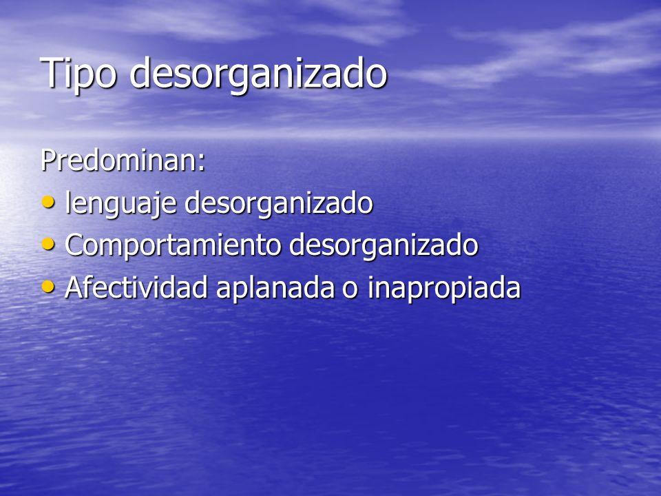 Tipo desorganizado Predominan: lenguaje desorganizado lenguaje desorganizado Comportamiento desorganizado Comportamiento desorganizado Afectividad apl