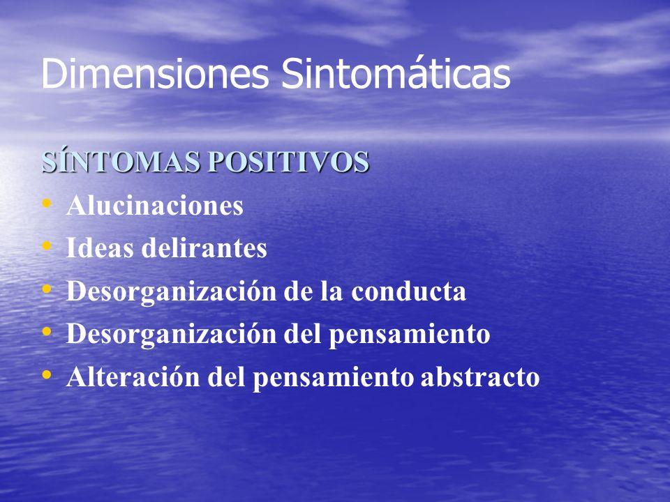 Dimensiones Sintomáticas SÍNTOMAS POSITIVOS Alucinaciones Ideas delirantes Desorganización de la conducta Desorganización del pensamiento Alteración d
