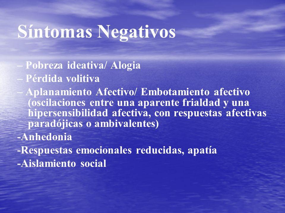 Síntomas Negativos – Pobreza ideativa/ Alogia – Pérdida volitiva – Aplanamiento Afectivo/ Embotamiento afectivo (oscilaciones entre una aparente frial