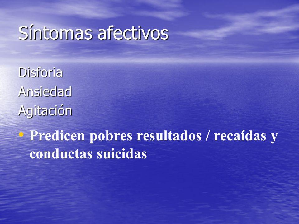 Síntomas afectivos DisforiaAnsiedadAgitación Predicen pobres resultados / recaídas y conductas suicidas
