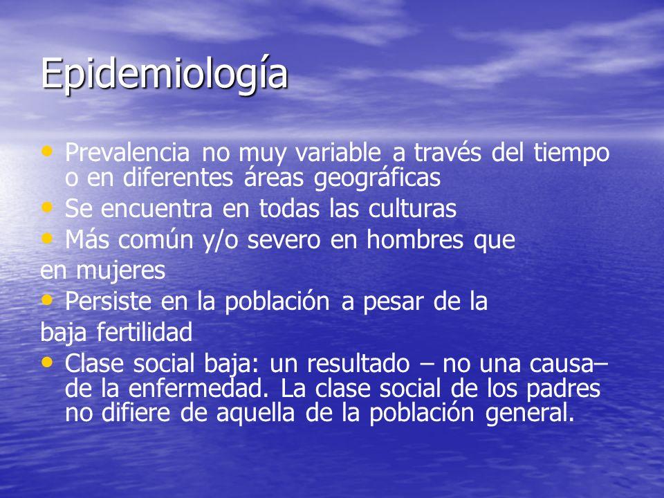 Epidemiología Prevalencia no muy variable a través del tiempo o en diferentes áreas geográficas Se encuentra en todas las culturas Más común y/o sever