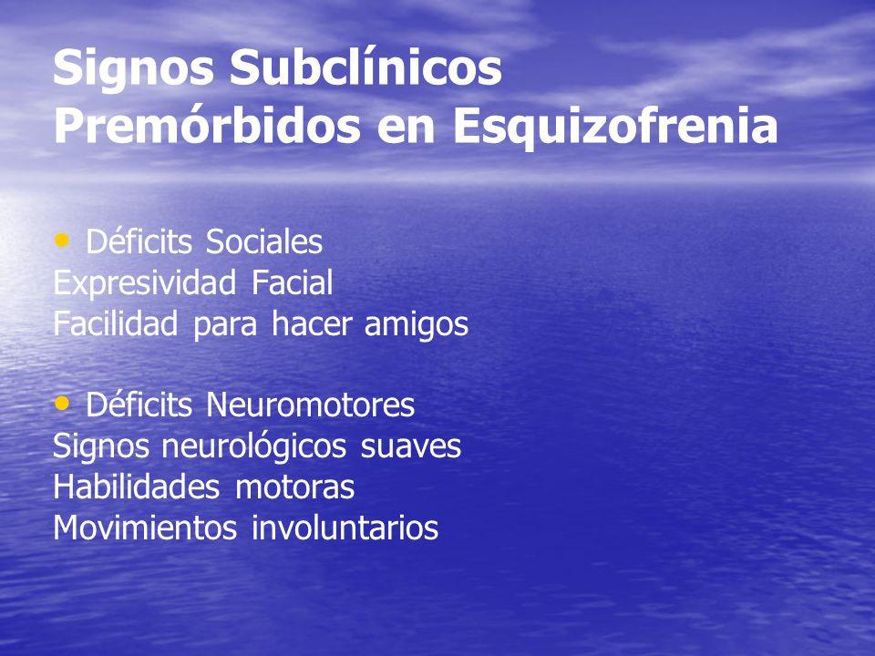 Signos Subclínicos Premórbidos en Esquizofrenia Déficits Sociales Expresividad Facial Facilidad para hacer amigos Déficits Neuromotores Signos neuroló