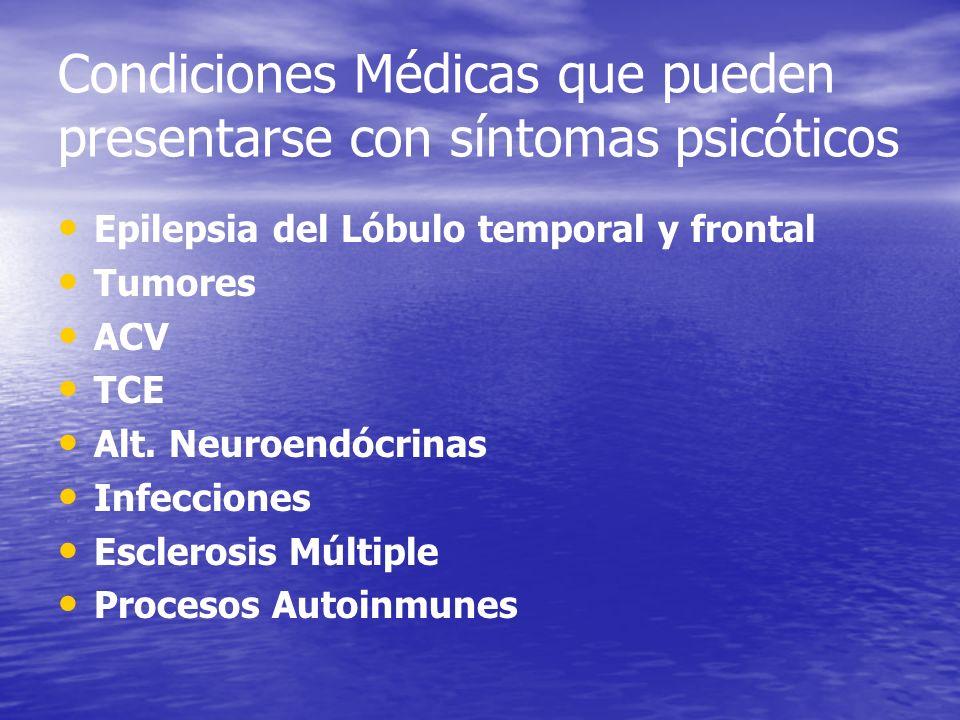 Condiciones Médicas que pueden presentarse con síntomas psicóticos Epilepsia del Lóbulo temporal y frontal Tumores ACV TCE Alt. Neuroendócrinas Infecc