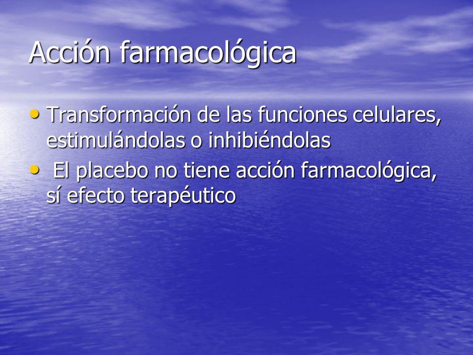 Acción farmacológica Transformación de las funciones celulares, estimulándolas o inhibiéndolas Transformación de las funciones celulares, estimulándol