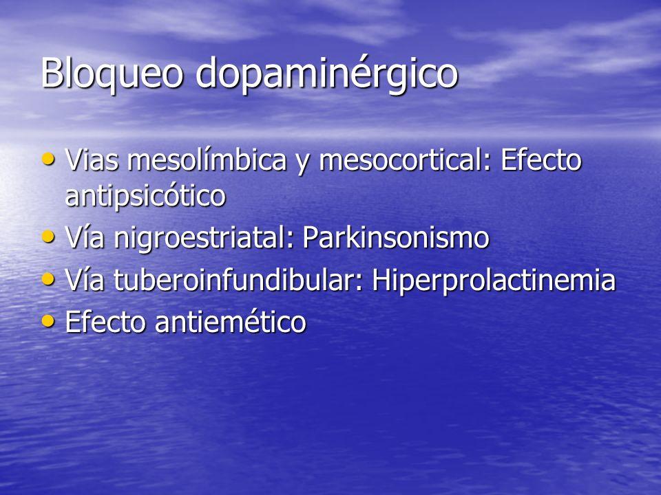 Bloqueo dopaminérgico Vias mesolímbica y mesocortical: Efecto antipsicótico Vias mesolímbica y mesocortical: Efecto antipsicótico Vía nigroestriatal:
