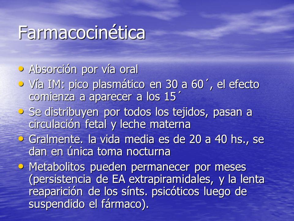 Farmacocinética Absorción por vía oral Absorción por vía oral Vía IM: pico plasmático en 30 a 60´, el efecto comienza a aparecer a los 15´ Vía IM: pic