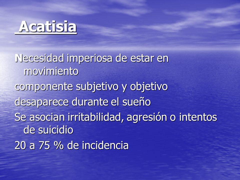 Acatisia Acatisia Necesidad imperiosa de estar en movimiento componente subjetivo y objetivo desaparece durante el sueño Se asocian irritabilidad, agr
