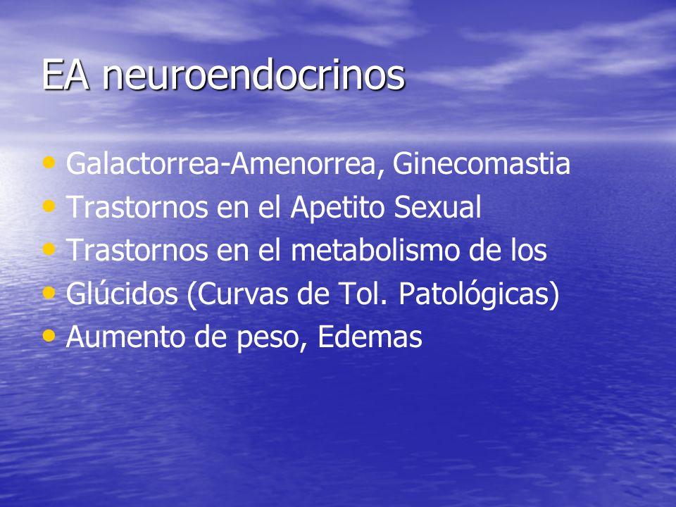 EA neuroendocrinos Galactorrea-Amenorrea, Ginecomastia Trastornos en el Apetito Sexual Trastornos en el metabolismo de los Glúcidos (Curvas de Tol. Pa