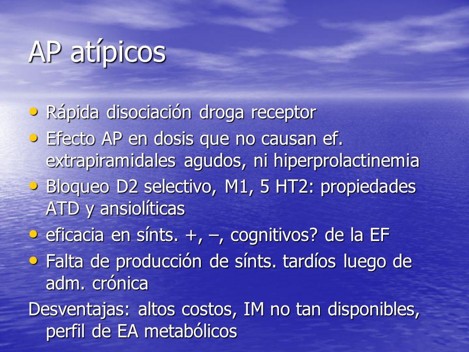 AP atípicos Rápida disociación droga receptor Rápida disociación droga receptor Efecto AP en dosis que no causan ef. extrapiramidales agudos, ni hiper