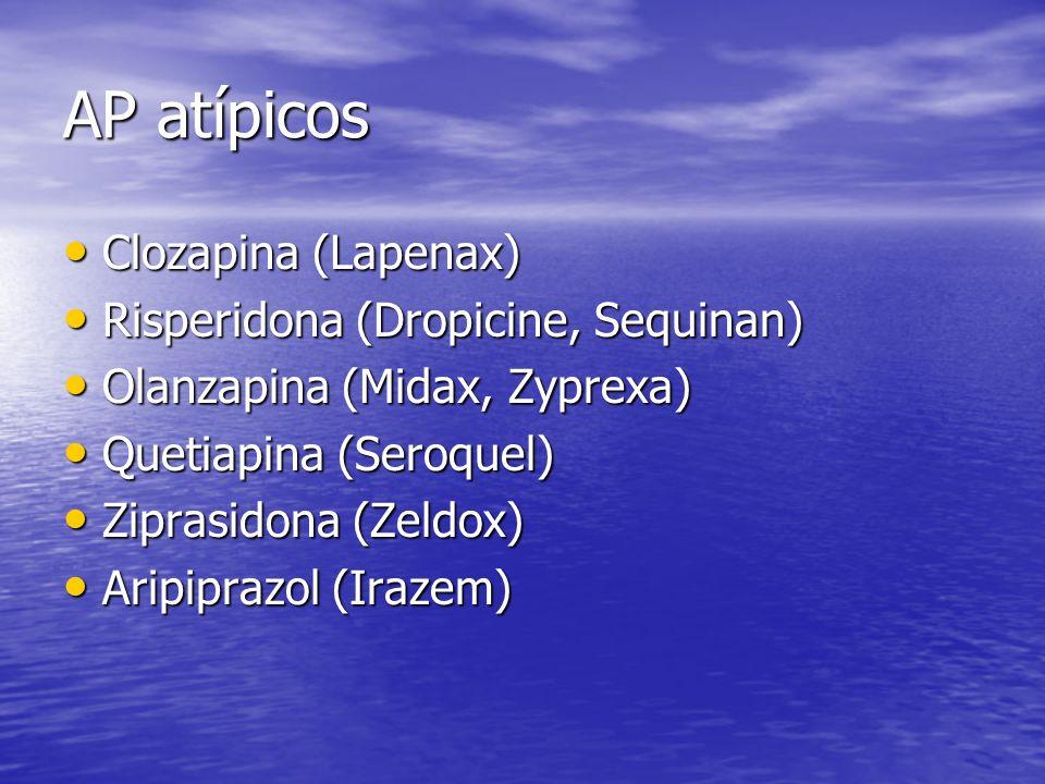 AP atípicos Clozapina (Lapenax) Clozapina (Lapenax) Risperidona (Dropicine, Sequinan) Risperidona (Dropicine, Sequinan) Olanzapina (Midax, Zyprexa) Ol