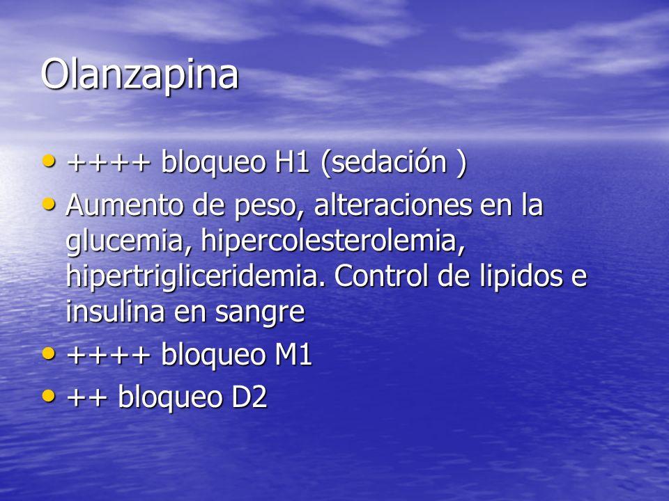 Olanzapina ++++ bloqueo H1 (sedación ) ++++ bloqueo H1 (sedación ) Aumento de peso, alteraciones en la glucemia, hipercolesterolemia, hipertriglicerid