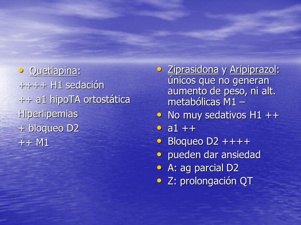 Quetiapina: Quetiapina: ++++ H1 sedación ++ a1 hipoTA ortostática Hiperlipemias + bloqueo D2 ++ M1 Ziprasidona y Aripiprazol: únicos que no generan au