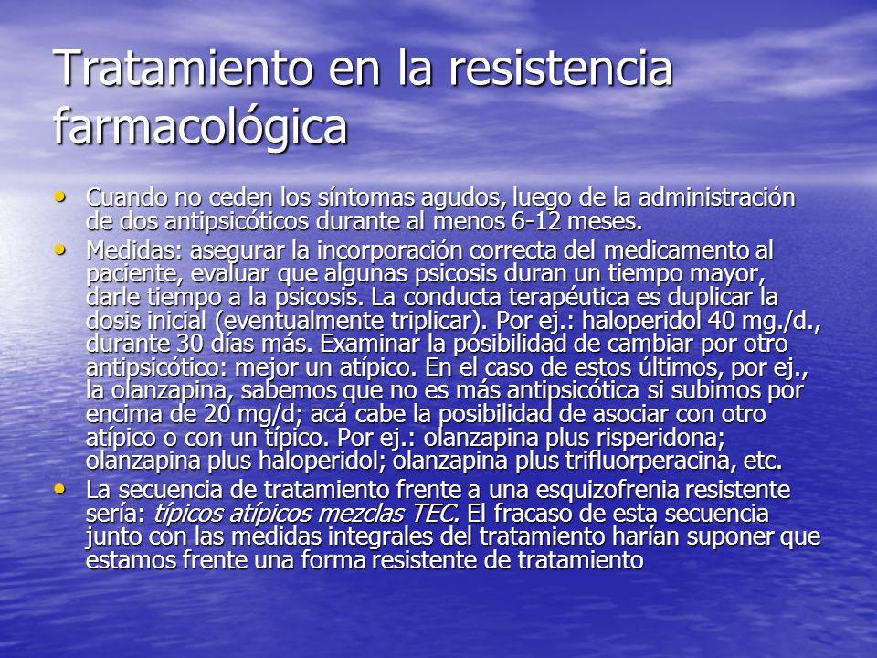 Tratamiento en la resistencia farmacológica Cuando no ceden los síntomas agudos, luego de la administración de dos antipsicóticos durante al menos 6-1