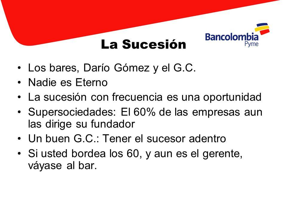 La Sucesión Los bares, Darío Gómez y el G.C. Nadie es Eterno La sucesión con frecuencia es una oportunidad Supersociedades: El 60% de las empresas aun