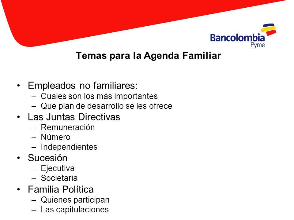 Temas para la Agenda Familiar Empleados no familiares: –Cuales son los más importantes –Que plan de desarrollo se les ofrece Las Juntas Directivas –Re