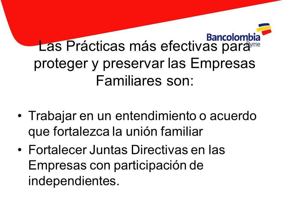 Las Prácticas más efectivas para proteger y preservar las Empresas Familiares son: Trabajar en un entendimiento o acuerdo que fortalezca la unión fami