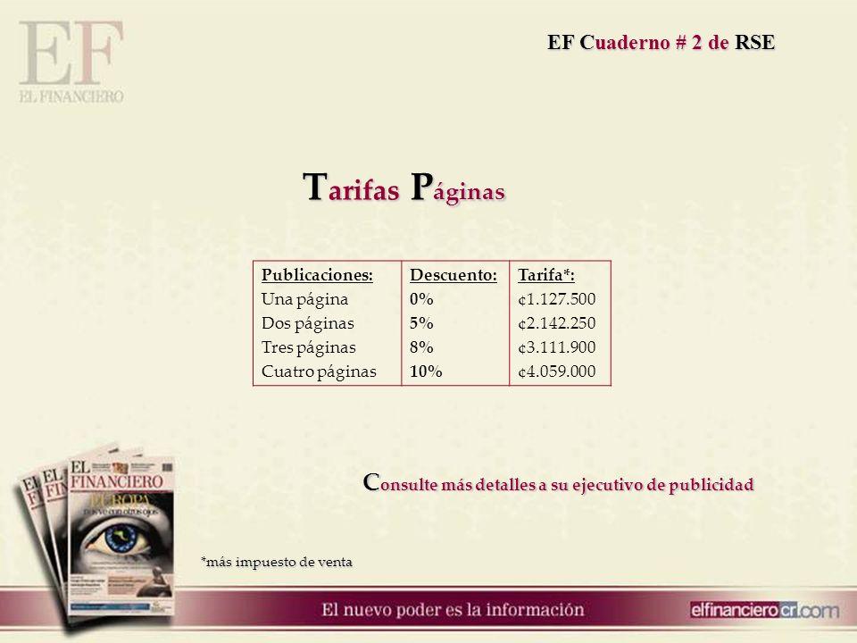 Publicaciones: Una página Dos páginas Tres páginas Cuatro páginas Descuento: 0% 5% 8% 10% Tarifa*: ¢1.127.500 ¢2.142.250 ¢3.111.900 ¢4.059.000 T arifa