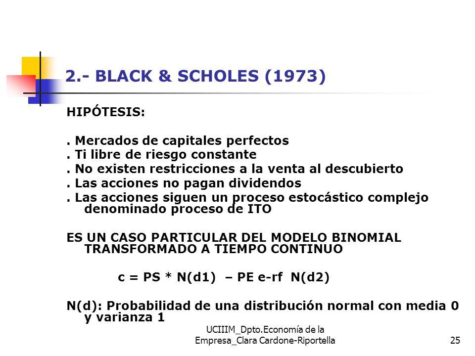 UCIIIM_Dpto.Economía de la Empresa_Clara Cardone-Riportella25 2.- BLACK & SCHOLES (1973) HIPÓTESIS:. Mercados de capitales perfectos. Ti libre de ries